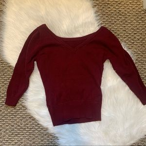 Collectif Vintage Maroon Wine Scoop Neck Sweater
